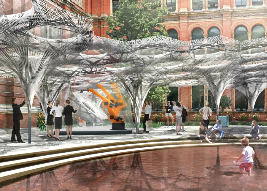 Innochain ESRs work on Robot-Build Pavillion for the V&A in London